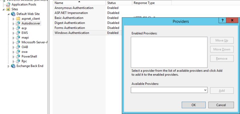Missing auth provider after Exchange 2013 Upgrade – Azure