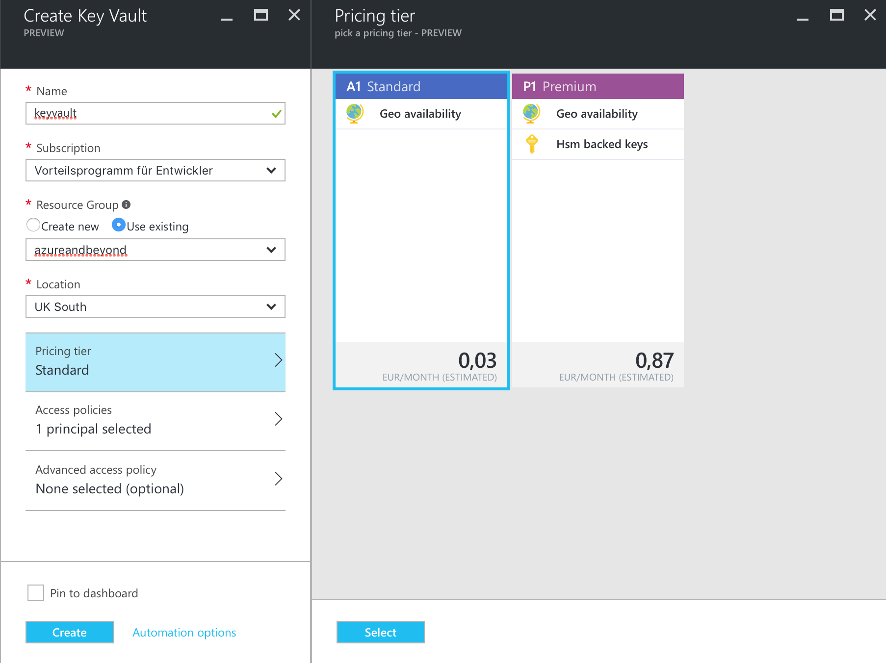 How to use stored secrets from Azure Key Vault while