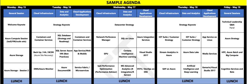 C + E University Cloud Architect Bootcamp - Agenda 1/2